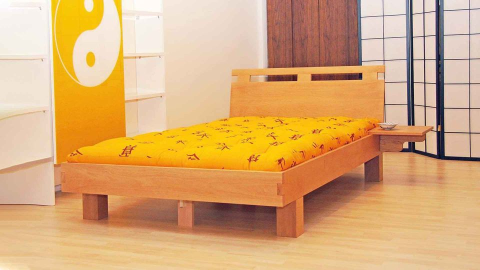 Bed Emoji; beech wood; with backrest|Futon-bed Emoji; beech wood; with backrest