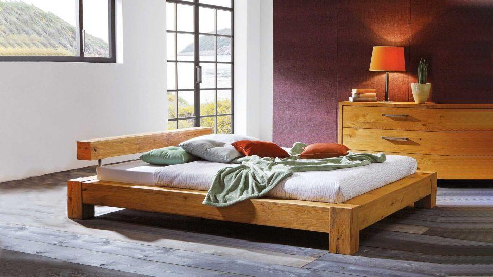 Bed Cobo; Natural wood bed Wild oak|Natural wood bed Cobo made of solid Wild oak