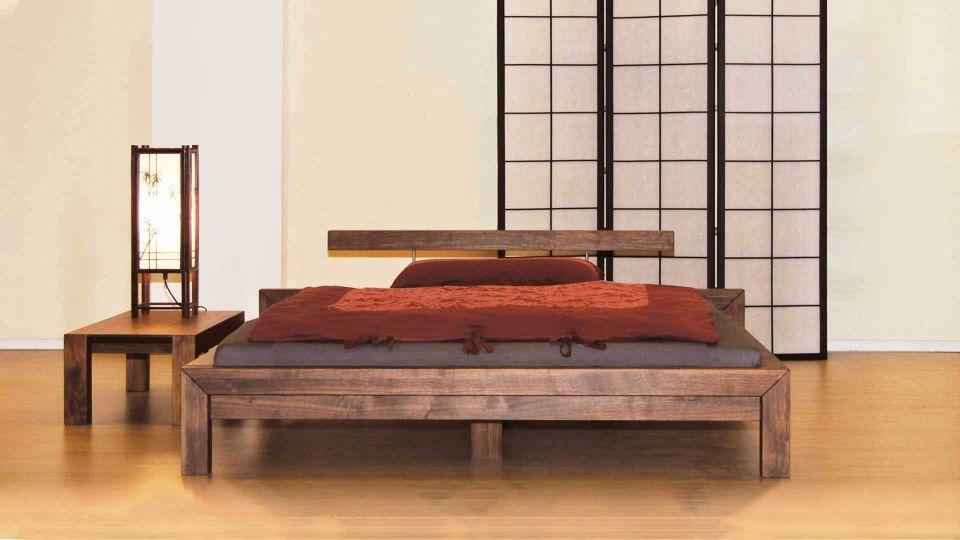 Bed Ikara with headrest; walnut oiled