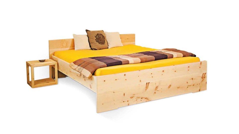 Swiss Pine Bed Sun including headboard|Swiss Pine Bed, Model Sun - including headboard