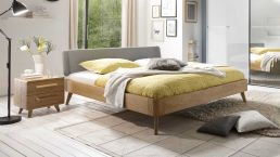 Bed Airo oak bianco with headboard (version 2: padded lightgrey)
