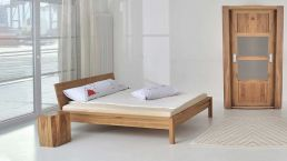 Bed Cara, solid wood bed in 4 Wood variants